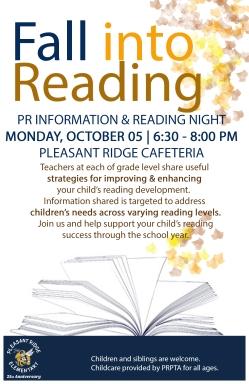 2015 Reading Night. Oct 5 . 6:30-8pm