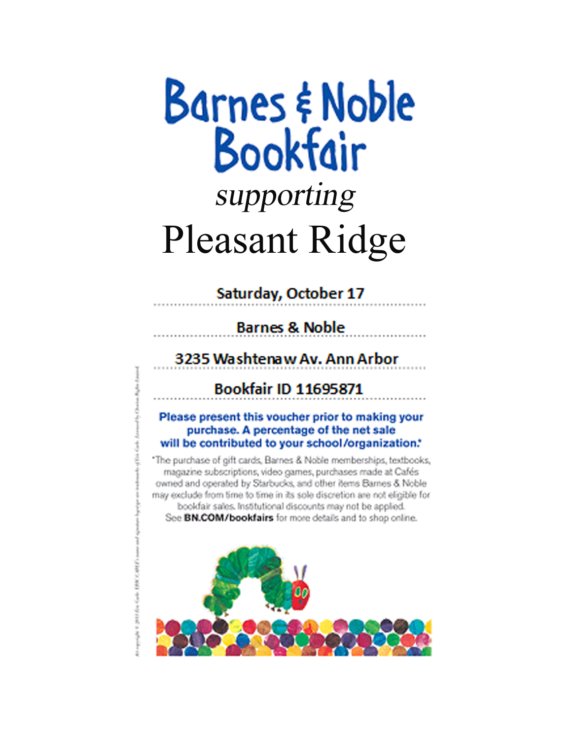 Barnes and Noble Bookfair : Oct. 17-22 | Pleasant Ridge PTA
