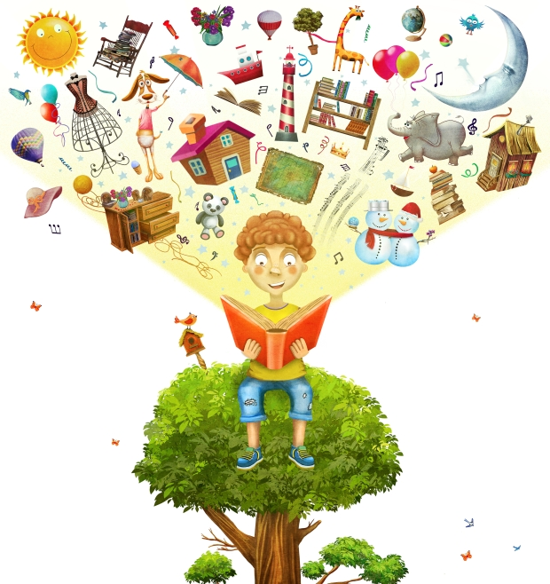 Little boy sitting on the tree and reading a book, objects flyi
